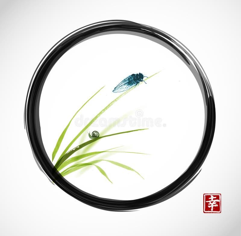 La cicala e la piccola lumaca sulle foglie di erba in zen nero di enso circondano Il sumi-e orientale tradizionale della pittura  royalty illustrazione gratis