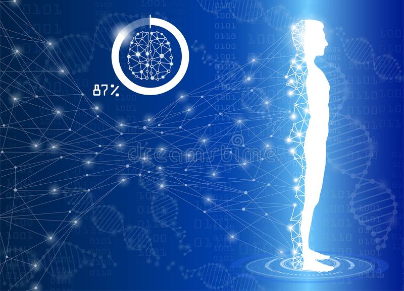 La ciencia del fondo y el concepto abstractos de la tecnología en luz azul, cuerpo humano curan libre illustration