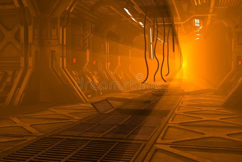 La ciencia ficción dañó la estación espacial ilustración del vector