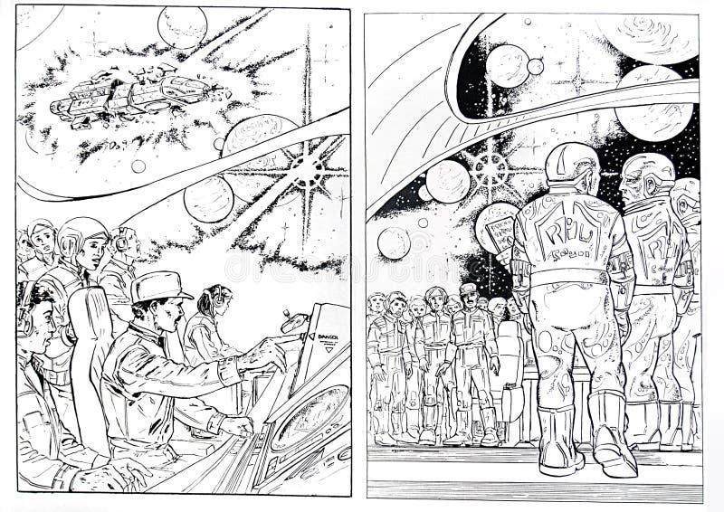 La ciencia ficción drena stock de ilustración