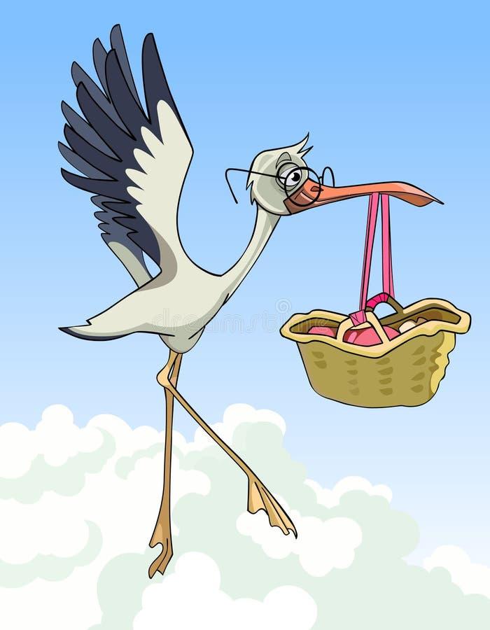 La cigüeña de la historieta lleva una cesta con un bebé recién nacido libre illustration