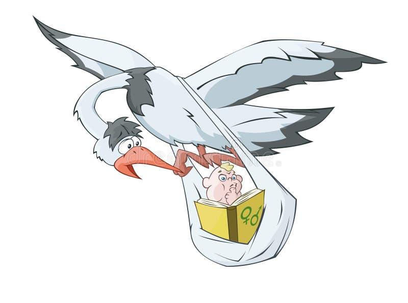 La cigüeña está llevando al bebé que lee el libro ilustración del vector