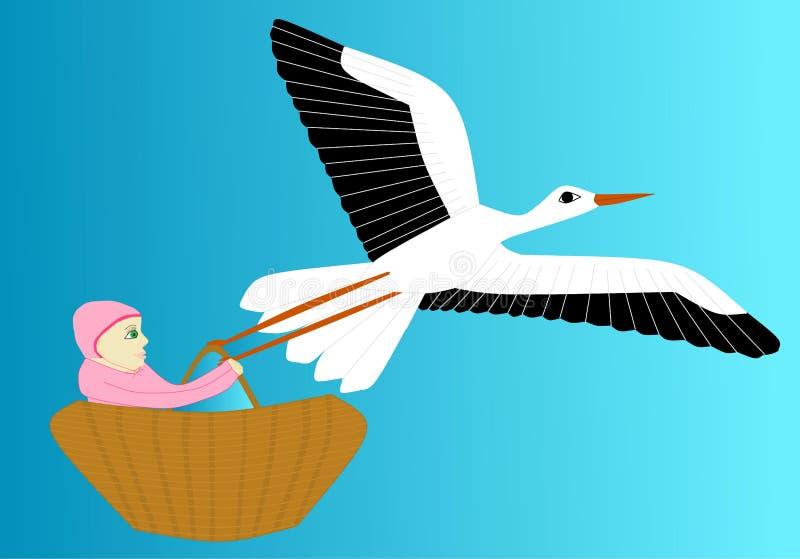 La cigüeña lleva el recién nacido libre illustration