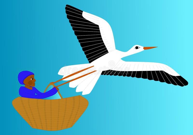 La cigüeña lleva el recién nacido stock de ilustración