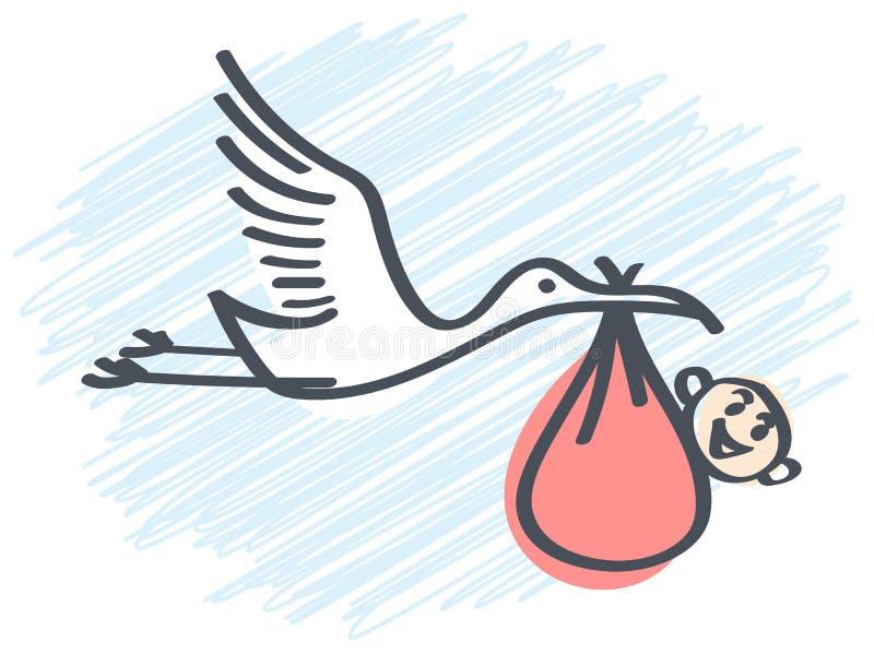 La cigogne amène la chéri illustration de vecteur