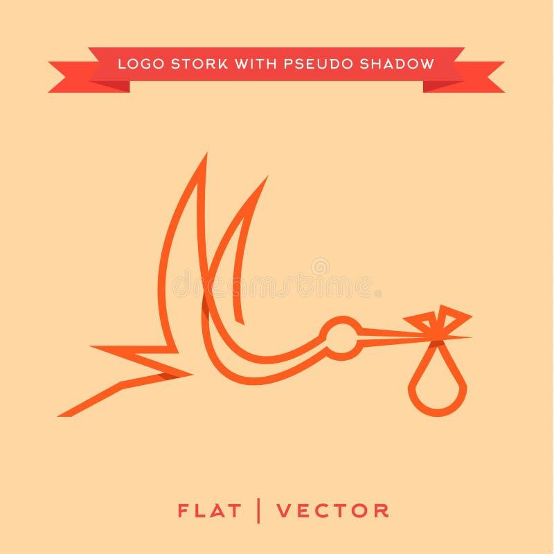 La cigogne amène le bébé, contour à la mode de logo de marque avec illustration libre de droits