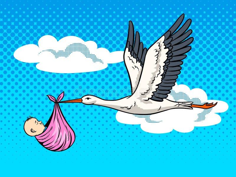 La cigogne apporte l'illustration de vecteur d'art de bruit de bébé illustration de vecteur