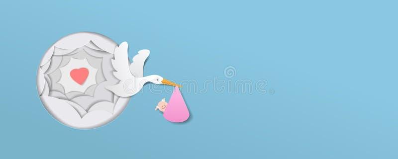 La cigogne avec le papier mignon de vecteur d'art de papier de bébé a coupé l'illustratio illustration libre de droits