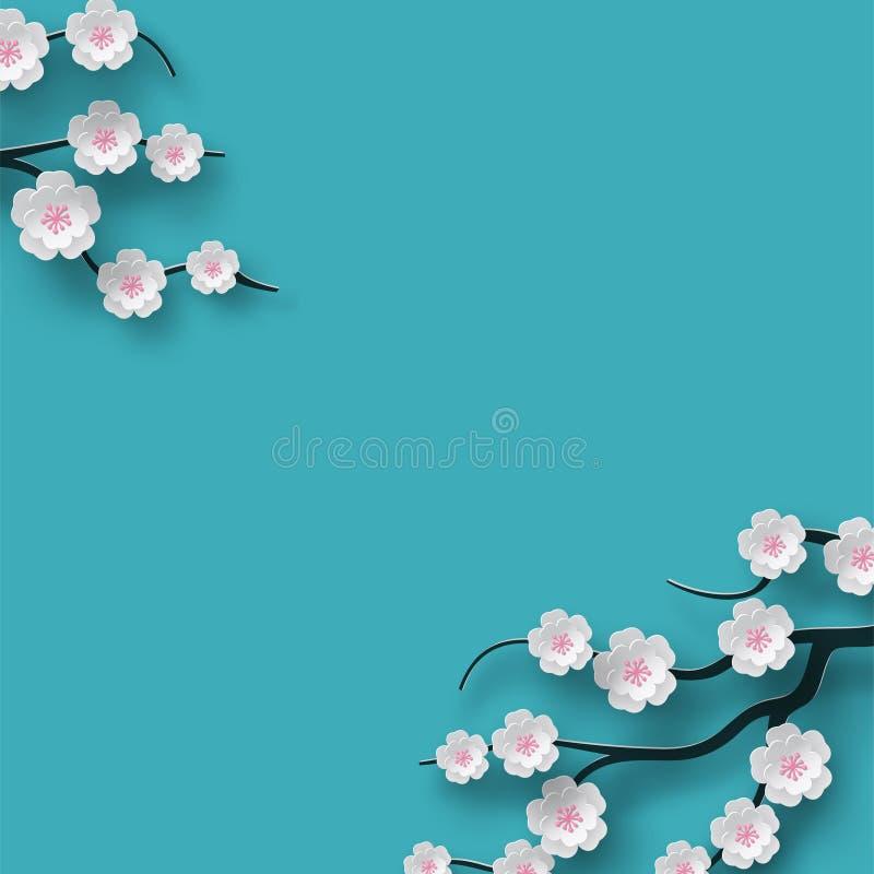 La ciliegia di fioritura decorata fondo floreale fiorisce il ramo, contesto blu luminoso per progettazione di stagione di tempo d illustrazione vettoriale