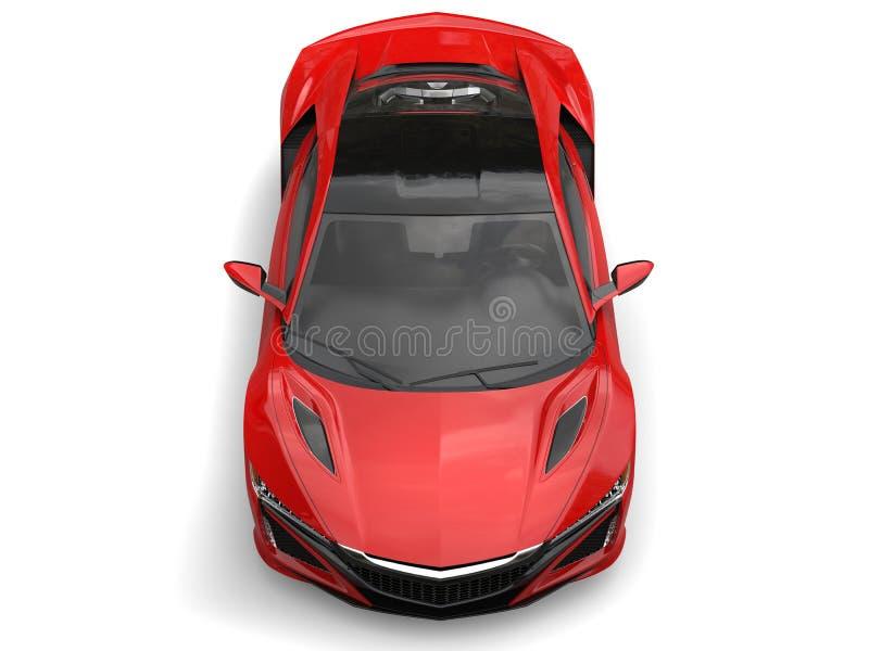 La cima automobilistica di concetto futuristico cremisi di sport giù osserva illustrazione vettoriale
