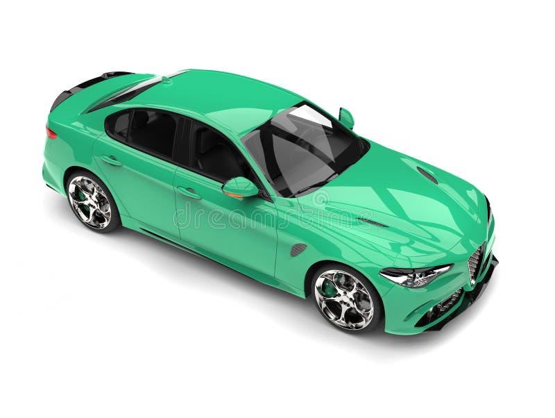 La cima automobilistica veloce moderna verde caraibica giù osserva illustrazione di stock