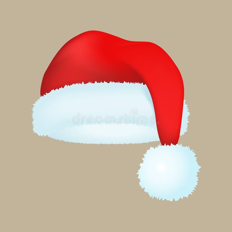 La cima moderna di festa di natale dell'inverno del cappuccio dell'eleganza del cappello rosso di modo del Babbo Natale copre l'i illustrazione di stock