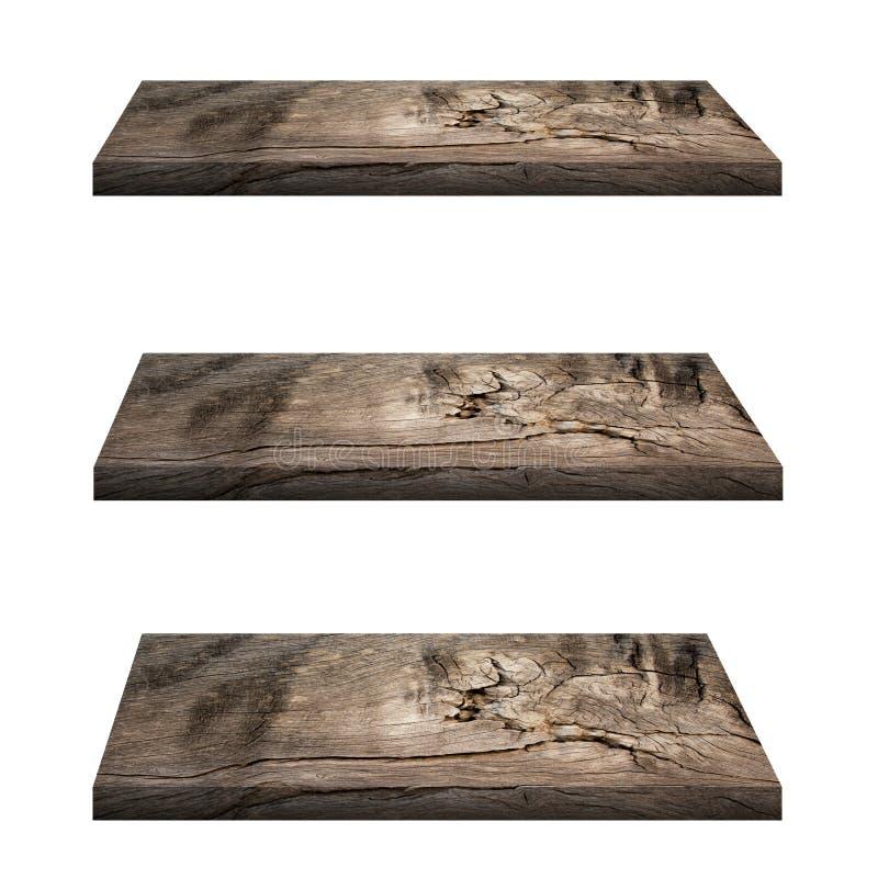 La cima vuota 3 del contatore di legno dello scaffale ha isolato immagine stock