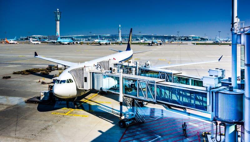 La CIN d'aéroport international d'Incheon - embarquement images libres de droits