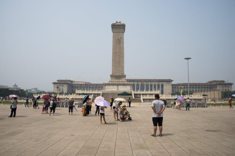 La Cina Asia, Pechino, il monumento agli eroi della gente fotografia stock libera da diritti