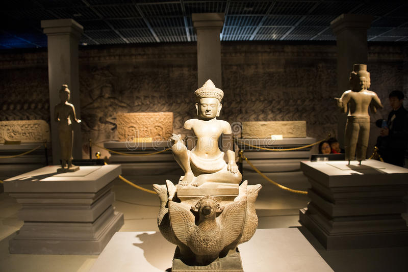 La Cina Asia, Pechino, il museo capitale, reliquie della Kampuchea Angkor e Art Exhibition immagine stock