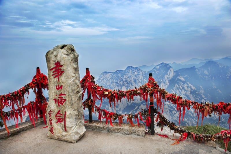 La Cina: compressa di pietra sulla montagna Hua fotografie stock