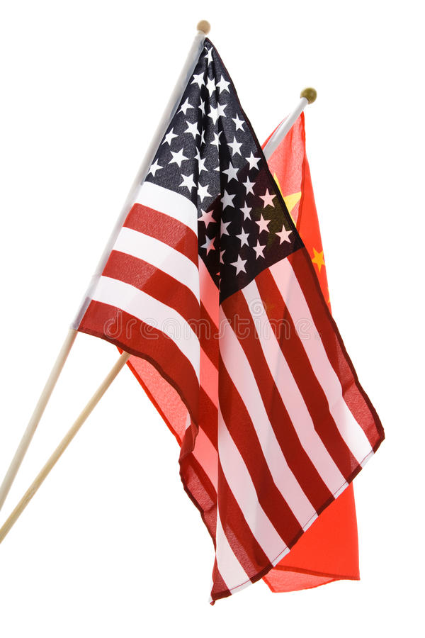 La Cina e bandierina degli S.U.A. immagini stock