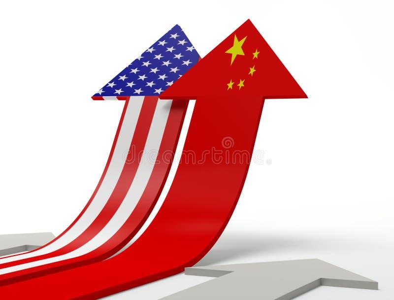 La Cina e gli S.U.A. illustrazione di stock
