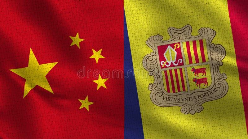 La Cina e l'Andorra - due mezze bandiere insieme immagini stock libere da diritti