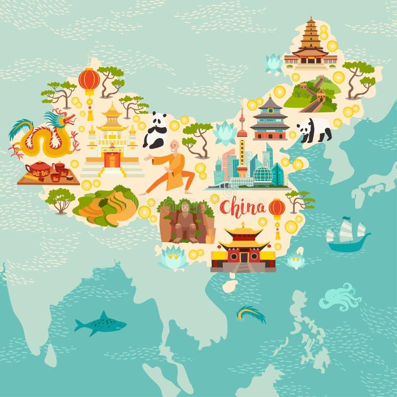 La Cina ha illustrato la mappa, l'illustrazione disegnata a mano di vettore per il bambino ed i bambini illustrazione di stock