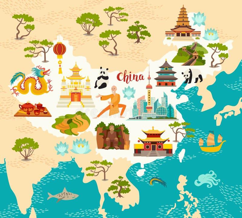 La Cina ha illustrato la mappa, l'illustrazione disegnata a mano di vettore per il bambino ed i bambini illustrazione vettoriale