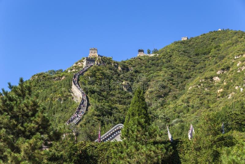 La Cina, Juyongguan Sezione della montagna della grande muraglia della Cina immagine stock
