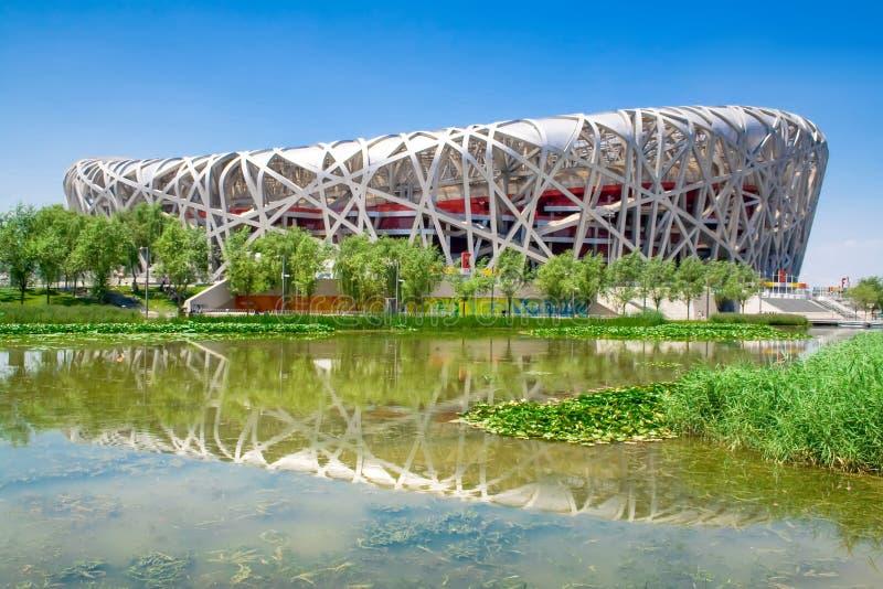 La Cina lo Stadio Olimpico nazionale anche conosciuto come il nido dell'uccello fotografia stock libera da diritti