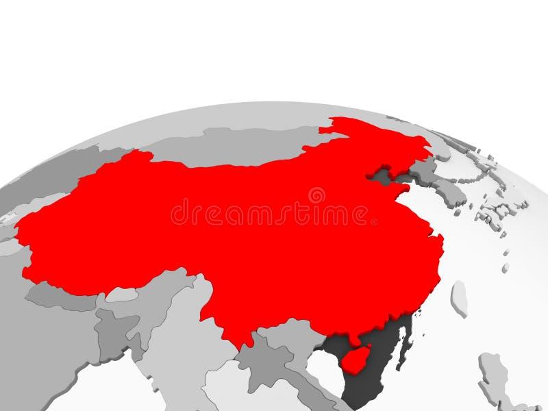La Cina sul globo grigio royalty illustrazione gratis
