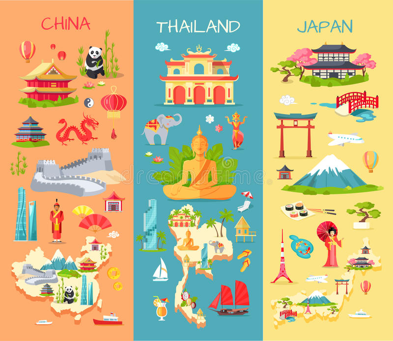La Cina thailand japan Icone dei paesi asiatici royalty illustrazione gratis