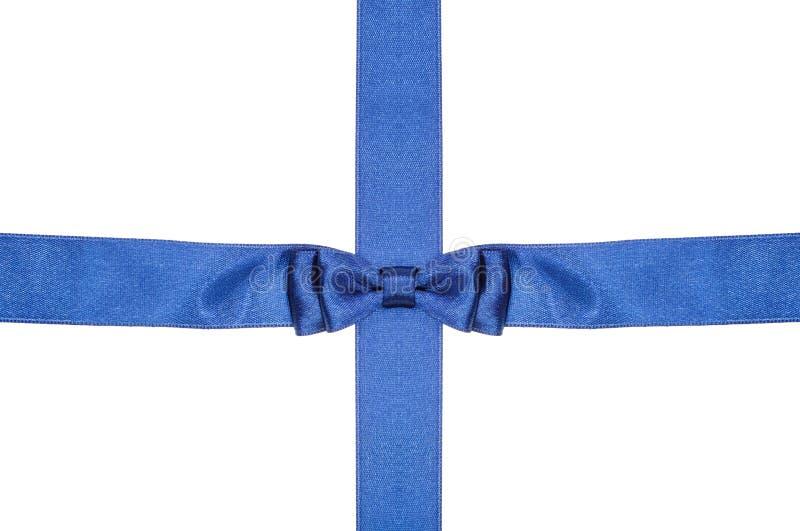 La cinta azul y el satén de la intersección congriegan con el arco imágenes de archivo libres de regalías