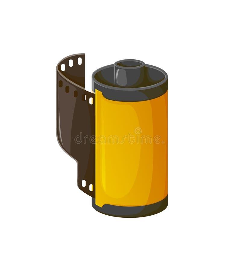 La cinta de la cámara, rollo de la foto de la tira de película aisló el icono ilustración del vector