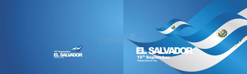 La cinta dos de la bandera de El Salvador del Día de la Independencia dobla el fondo del paisaje ilustración del vector