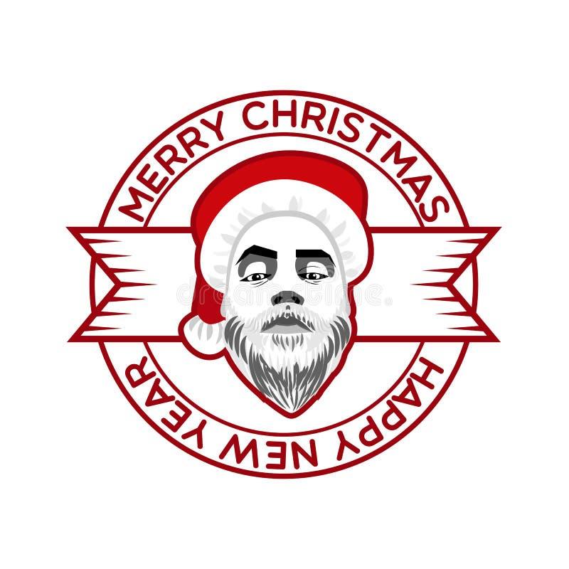 La cinta, graba al inconformista atrevido Santa Claus ilustración del vector