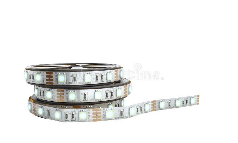 La cinta llevada de las luces de la tira de diodo en el primer 3d del tenedor rinde en pizca stock de ilustración