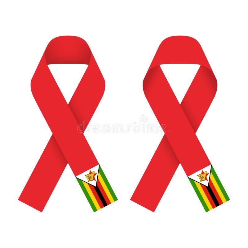 La cinta roja AYUDA, icono del VIH con el ejemplo del concepto de la bandera de Zimbabwe ilustración del vector