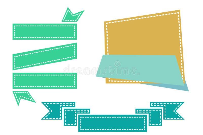 La cinta y la insignia retras brillantes con el efecto del stich para su elemento diseñan libre illustration
