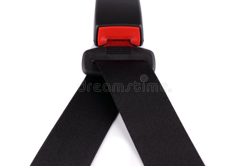 La cintura di sicurezza nera clasp sulla serratura immagini stock libere da diritti