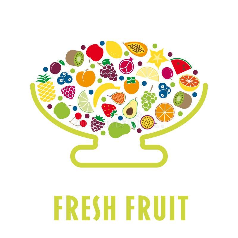 La ciotola di frutta piana di progettazione ha isolato royalty illustrazione gratis