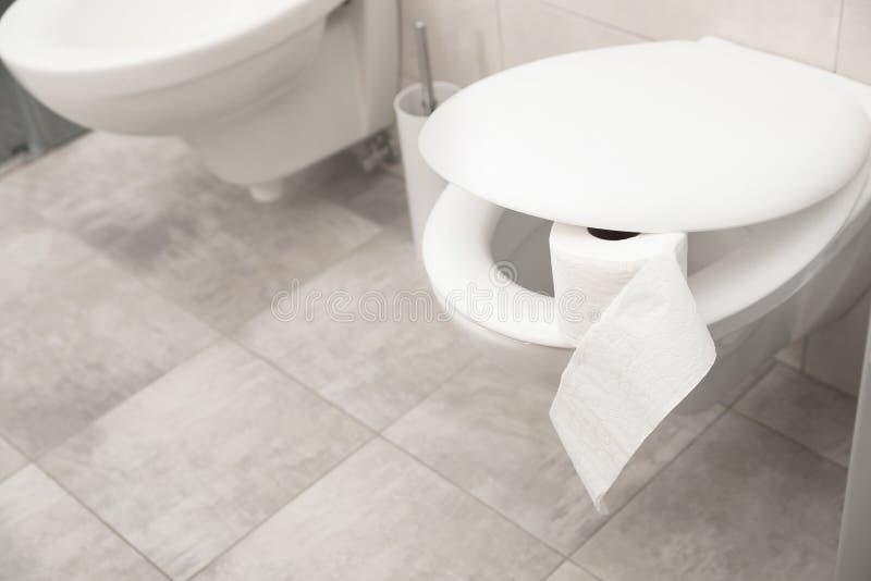 La ciotola di toilette con carta arriva a fiumi il bagno immagine stock libera da diritti