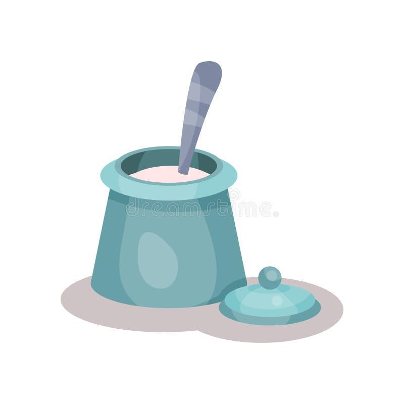 La ciotola ed il cucchiaio di zucchero vector l'illustrazione isolata su un fondo bianco illustrazione vettoriale