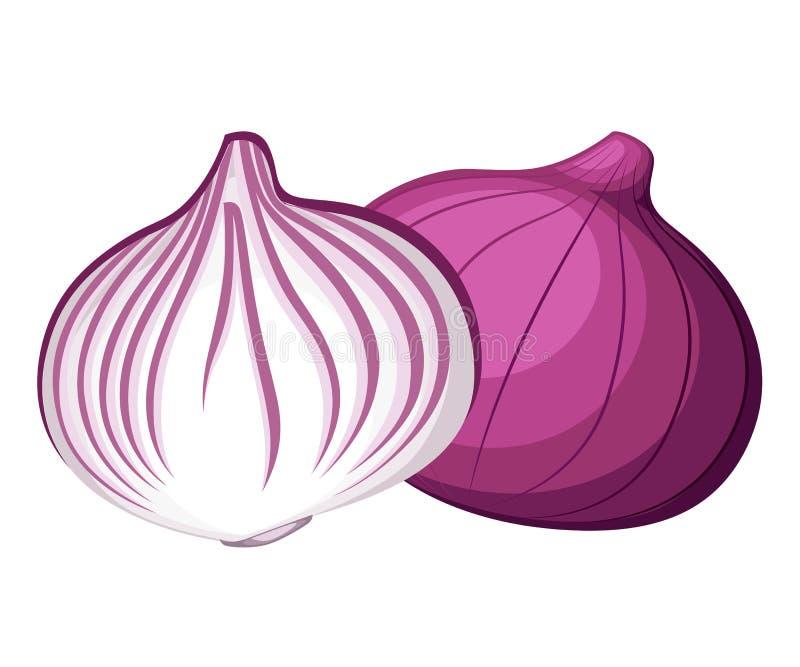 La cipolla rossa ed il pezzo freschi di verdura della cipolla dall'illustrazione dell'alimento biologico del giardino isolata sul royalty illustrazione gratis