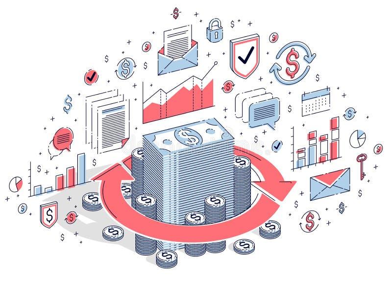 La circolazione dei soldi, il ritorno su investimento, il cambio, la parte posteriore dei contanti, il rimborso dei soldi, concet royalty illustrazione gratis
