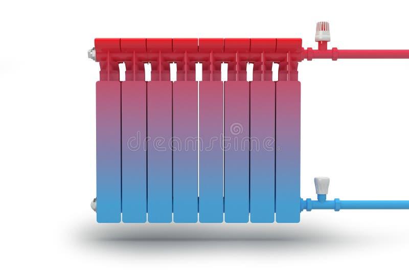 La circulación del flujo del calor en el sistema de calefacción del radiador. ilustración del vector