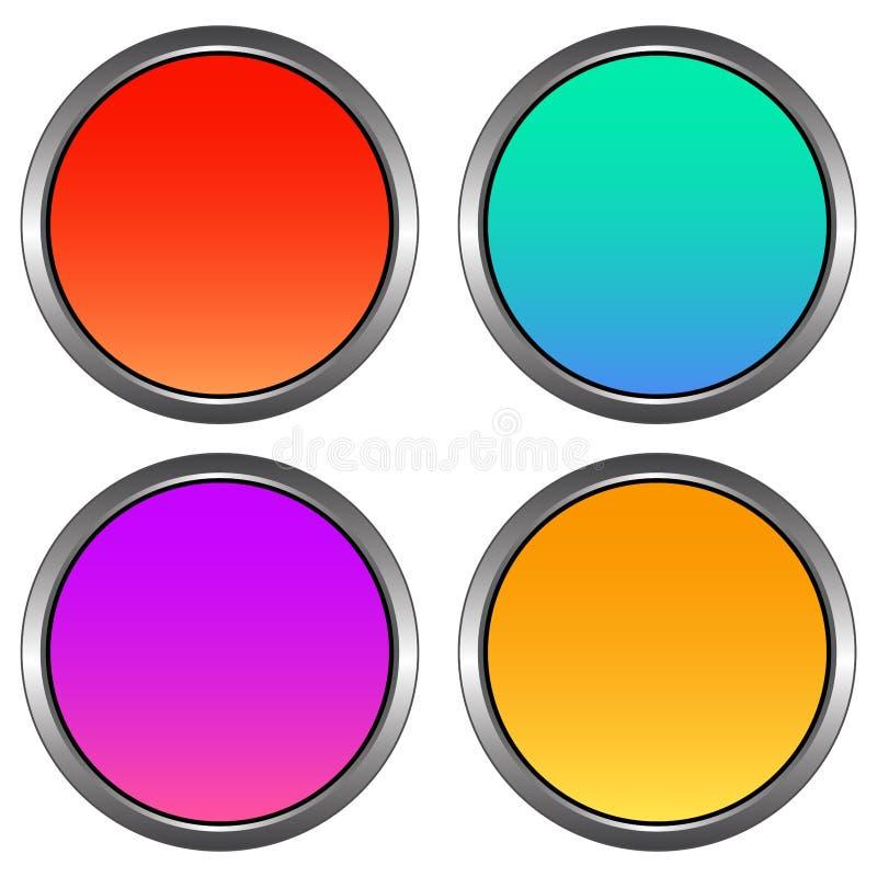 La circulaire, gradient se boutonne avec un contour métallique Conception brillante Quatre variations illustration libre de droits