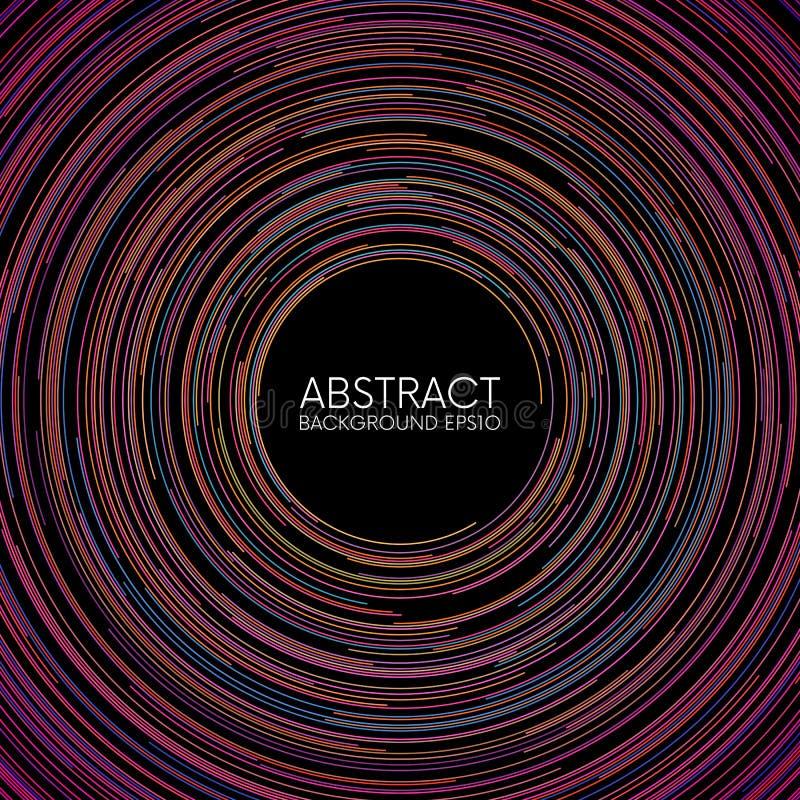 La circular al azar colorida abstracta alinea el fondo stock de ilustración