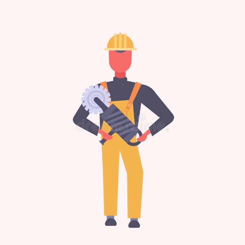 La circular joven del PDA de la tenencia del trabajador de construcción vio al comerciante en uniforme amarillo y el personaje de libre illustration