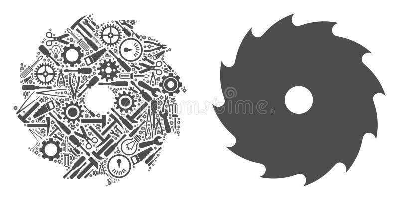 La circular vio el mosaico de las herramientas del servicio libre illustration