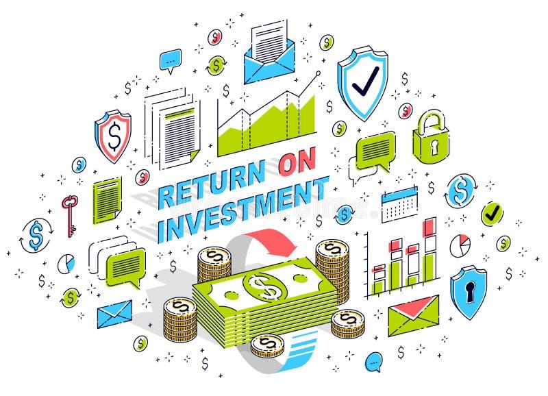 La circulation d'argent, retour sur l'investissement, change, dos d'argent liquide, remboursement d'argent, concepts peut ?tre em illustration stock