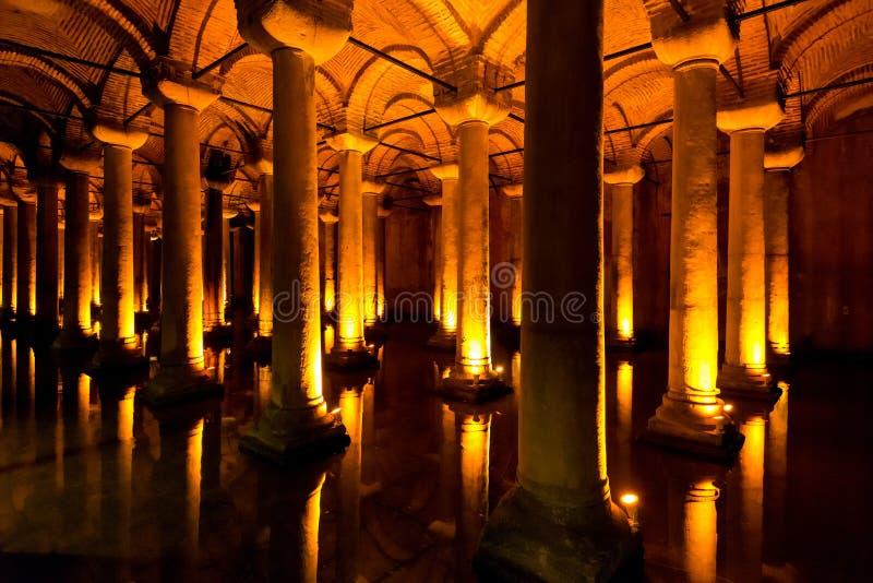La cisterna della basilica a Costantinopoli, Turchia fotografia stock